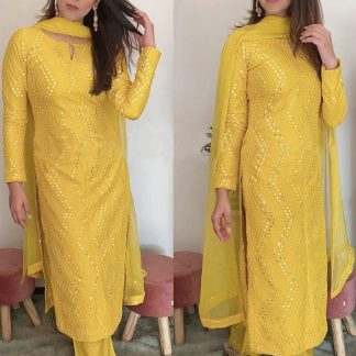 Femina Fashion Present  latest Premium collection of Faux Georgette Semi stitched Salwar Suit With Sequence 9MM Embroidery Work Designer Suits online shopping for girls