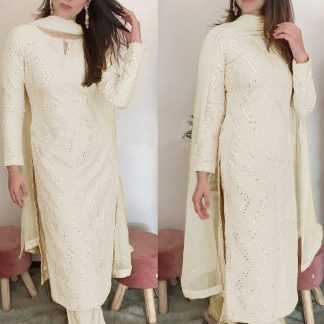 Femina Fashion Present  latest Premium collection white Faux Georgette Semi stitched Salwar Suit With Sequence 9MM Embroidery Work Designer Suits online shopping for girls