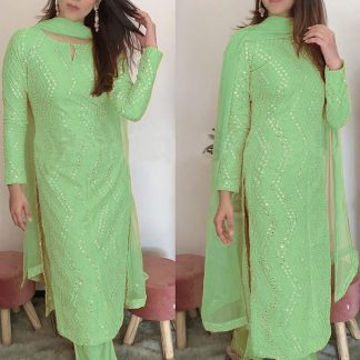 Femina Fashion Present  latest Premium collection pista green Faux Georgette Semi stitched Salwar Suit With Sequence 9MM Embroidery Work Designer Suits online shopping for girls