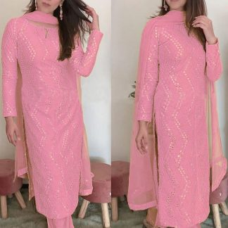 Femina Fashion Present  latest Premium collection pink Faux Georgette Semi stitched Salwar Suit With Sequence 9MM Embroidery Work Designer Suits online shopping for girls